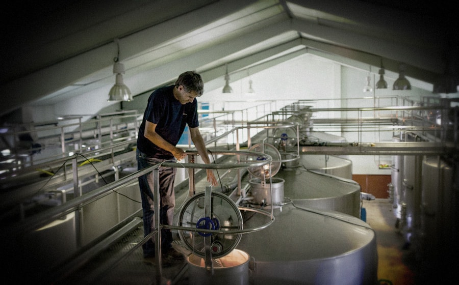 Iker observa los depósitos donde fermentará nuestro Maceración Carbónica || Iker monitors the tanks where our Carbonic Maceration ferments